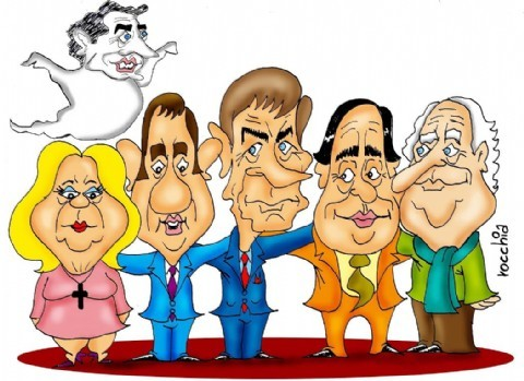 "Guti�rrez: "" Estamos organizando la llegada de Sanz, Cobos, Binner, Carri� y Solanas"" . Ernesto Sanz, Julio Cobos, Hermes Binner, Elisa Carri� y Fernando �Pino� Solanas (Dibujo: NOVA)."
