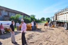 El cami�n de garrafas sociales que ser�n distribuidas en Castelli.