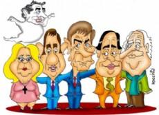 Ernesto Sanz, Julio Cobos, Hermes Binner, Elisa Carri� y Fernando �Pino� Solanas (Dibujo: NOVA).
